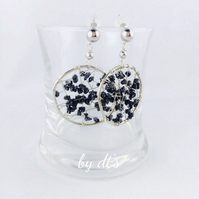 Pretty White Gold Earrings wrapped with Black Diamond