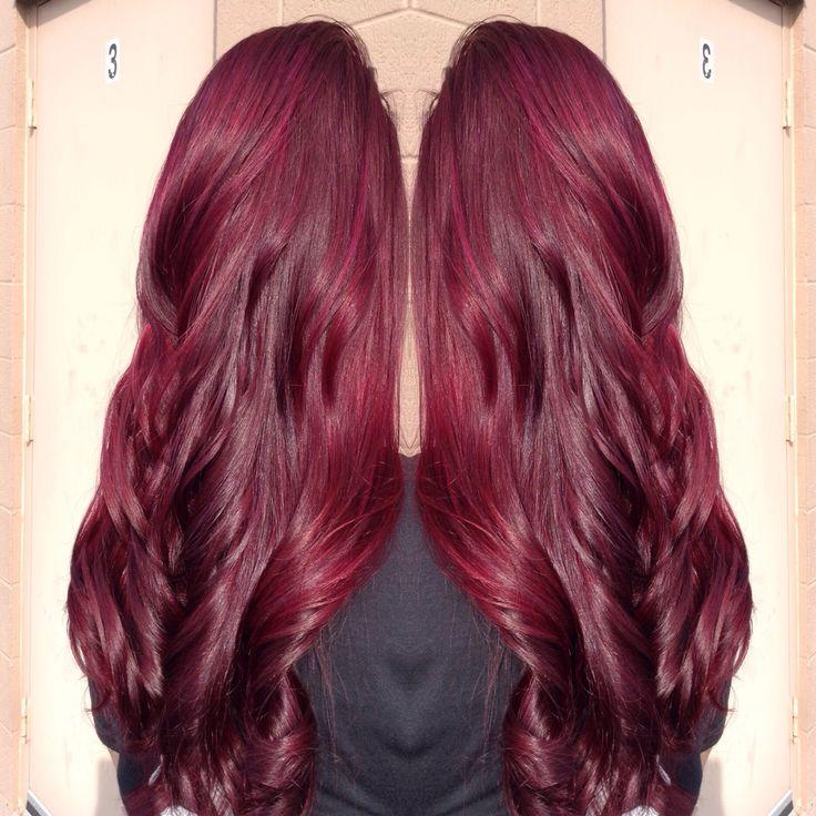 Color I did. Paul Mitchell and joico burgundy red violet Www.ashleynicolehairstylist.com  @americansalon @modernsalon