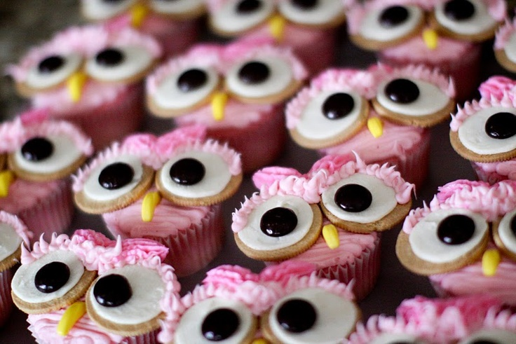 pink owls: Sweet, Food, Owl Cupcakes, Pink Owl, Party Ideas, Birthday Party, Birthday Ideas, Baby Shower