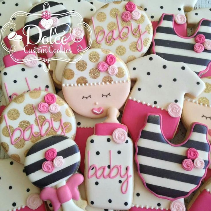 Lovely Baby Shower Baby Girl Black And White Gold Floral Cookies