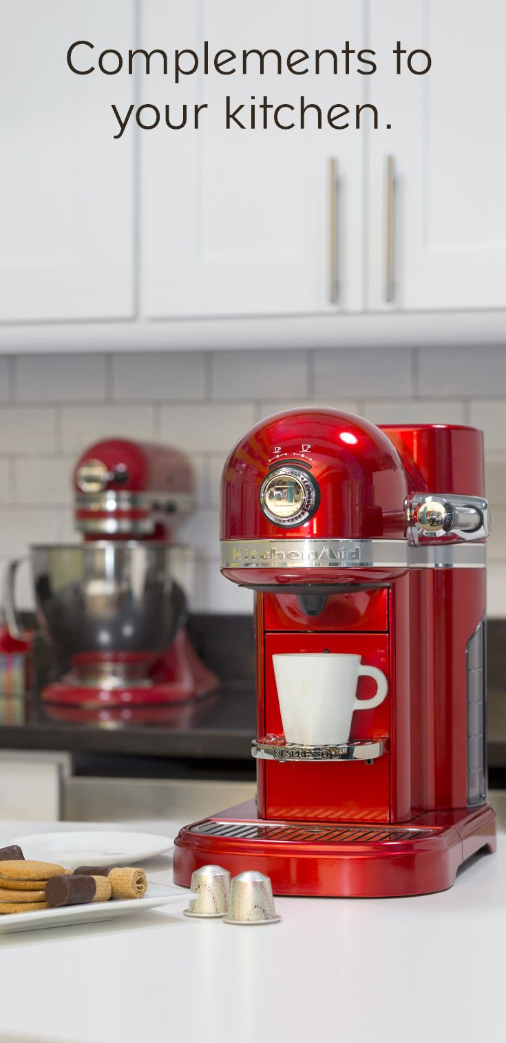 The Nespresso by KitchenAid machine has that iconic silhouette. The perfect holiday gift for bakers, coffee lovers, and those serious about design and home decor.