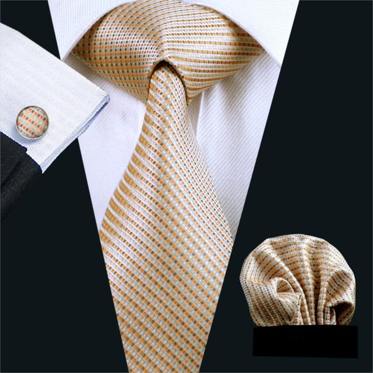 """This set is 100% Handmade and the tie measures 3.4"""" at its widest point. The design was created to impress with many suit colors! - Includes: Tie, Cuff Links and Handkerchief - 59.00"""" Long - 100% SILK"""