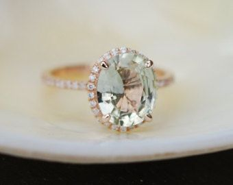 coming soon -Peach Champagne Sapphire Engagement Ring. Oval cut engagement ring. 14k rose gold diamond ring 3.5ct sapphire ring by EidelPrecious