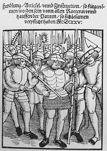 The German Peasants' War or Great Peasants' Revolt (German: Deutscher Bauernkrieg) was a widespread popular revolt in the German-speaking areas of Central Europe, 1524–1526. It failed because of the intense opposition of the aristocracy, who slaughtered up to 100,000 of the 300,000 poorly armed and poorly led peasants and farmers. The survivors were fined and achieved few if any of their goals.