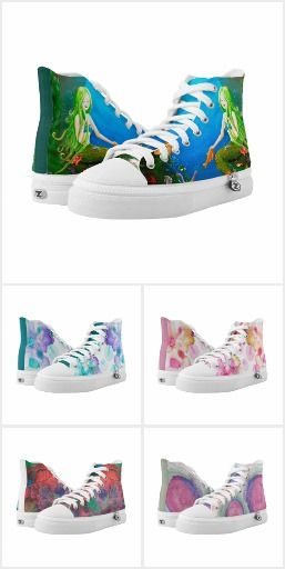 Artsy Shoes. High Top shoes, printed with watercolor painting motifs, and more.