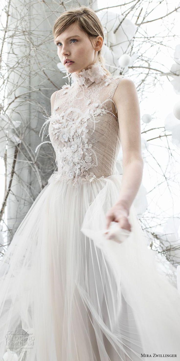 mira zwillinger 2018 bridal sleeveless illusion jewel sweertheart neckline heavily embellished bodice tulle skirt romantic a  line wedding dress (pipa) mv -- Mira Zwillinger 2018 Wedding Dresses