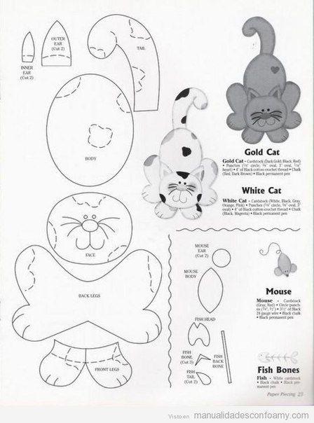 """Materiales gráficos Gaby: Peluches o cojínes costura fácil con moldes """"Gatos varios modelos"""""""
