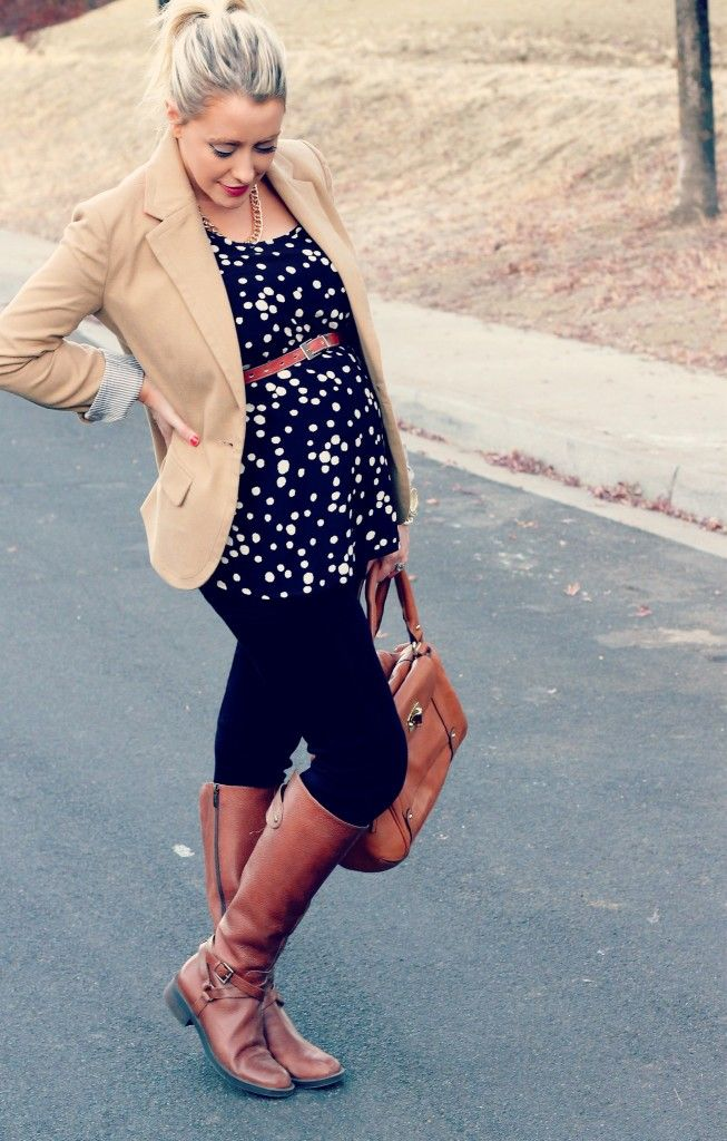 Black, brown, & polka dotted maternity outfit.
