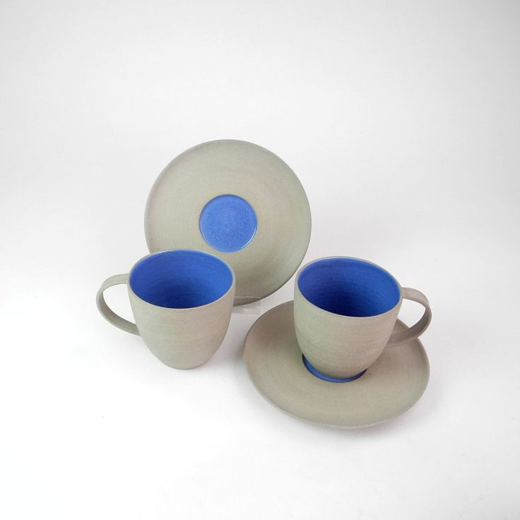 Cafe cups and saucers in grey and delfs blue, Noot & Zo