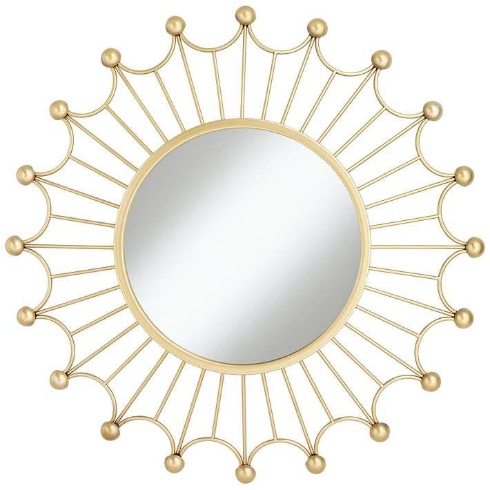 Weiss Gold 35 1 2 Round Sunburst Wall Mirror Com Imagens Espelho