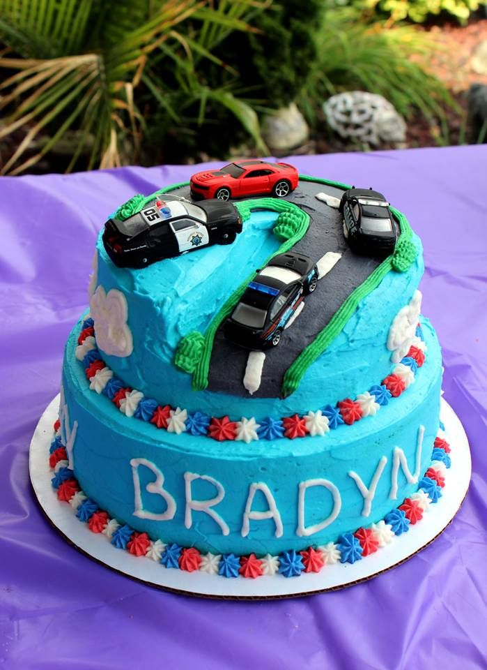 Police Chase birthday cake - adapted idea from a Cars cake I found online for my nephew