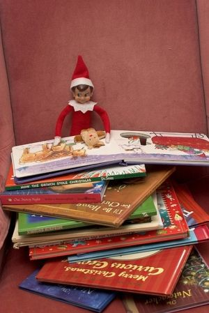 Elf on the Shelf reading some good books.