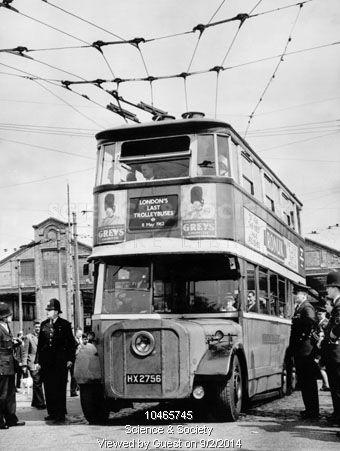 London's last trolleybus, May 1962.