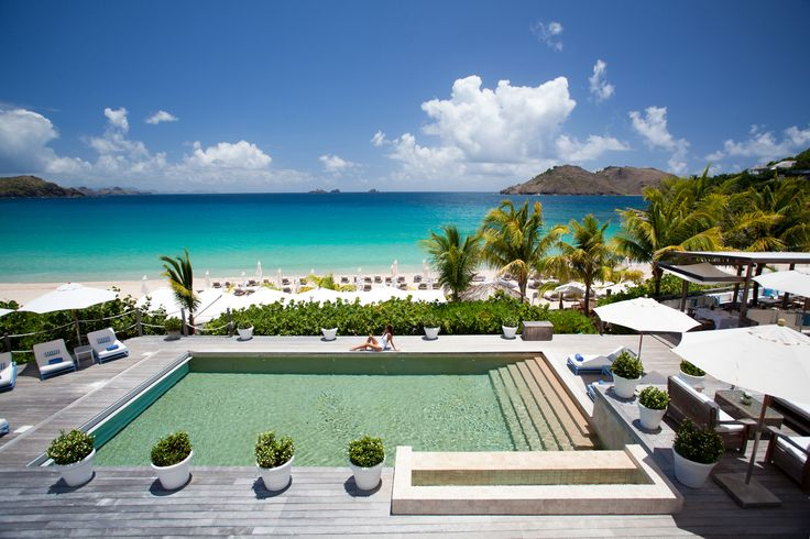 the pool the beach @ Isle de France Hotel in St Barths