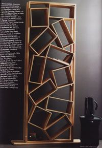 'Bookshelf' by Drugeot Labo shows both order and disorder in that the bookshelf keeps the books in an order but the frames holding the books are all randomly placed, crooked and in a disorderly fashion.