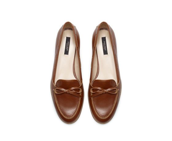 ZARA LEATHER MOCCASIN WITH BOW