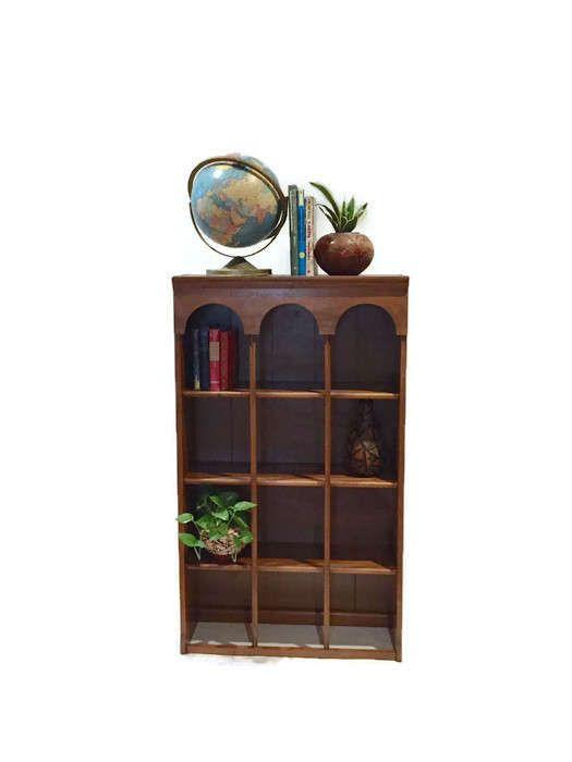 Vintage Bookcase Bookshelf Plate Display Stand Cabinet Curio