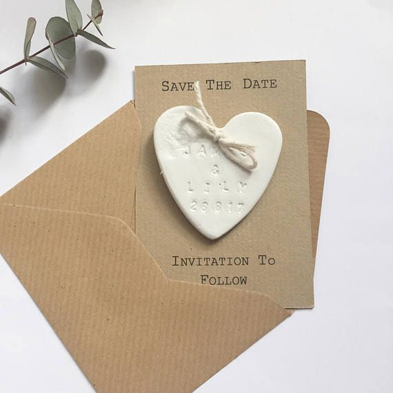 Littlemoos Gifts - Clay Save the date magnets Hearts – Personalised save the date – Wedding announcement  The date has been chosen and now it's time to let people know!!! These unique save the date magnets are the perfect choice to make your wedding announcement to family and friends.  These personalised clay save the date magnets are individually stamped with your names and your wedding date and come attached to either a bio - degradable white or ribbed brown card, these also come with…