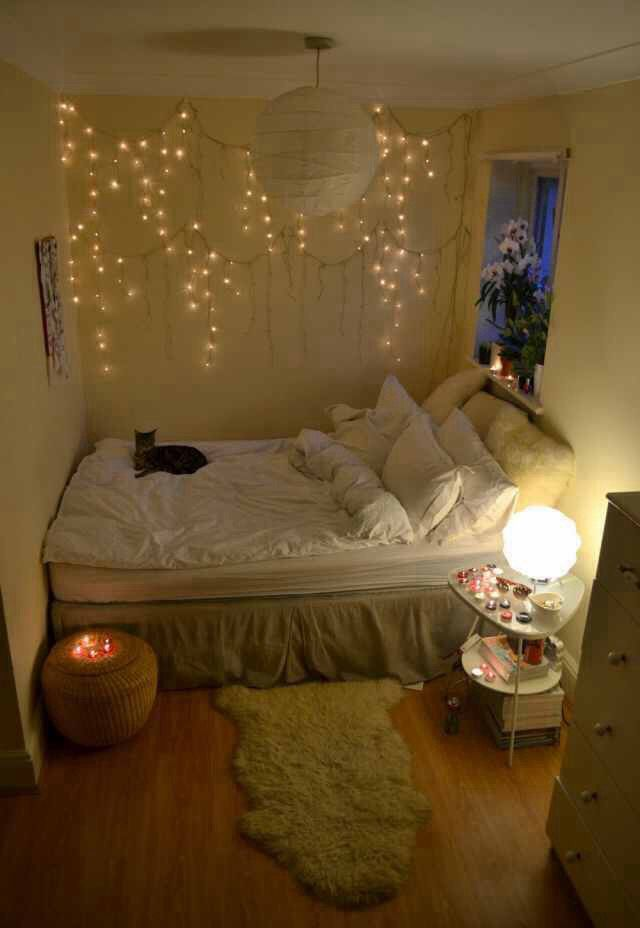 decorate a room with some white christmas lights candles and flowers to create a beautiful and serene atmosphere dont forget the cat - Tiny Room Ideas Tumblr