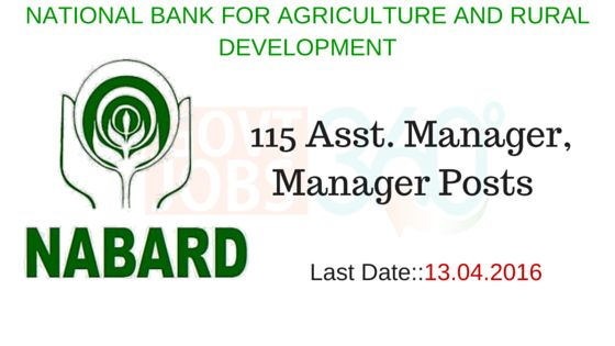 NABARD – 115 Asst. Manager, Manager Posts