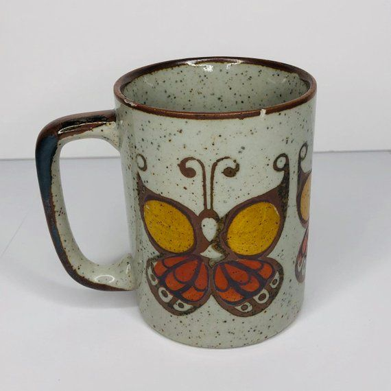 Vintage 1970s 1980s Otagiri Butterfly Coffee Mug Made In Japan Excellent Condition Speckled Otagiri Stoneware C Stoneware Mugs Mugs Stoneware