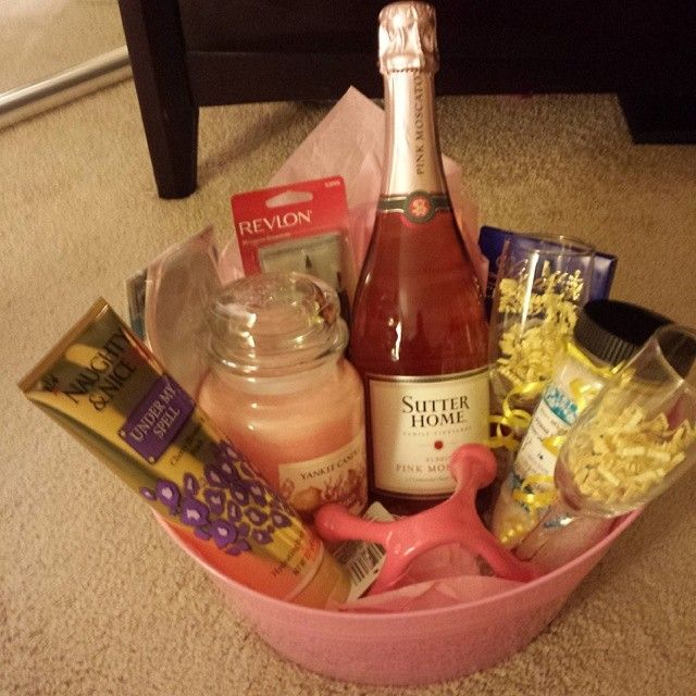Spa Themed Gift Basket idea Wine glasses, bottle of wine,lotion, candle, bath salts, manicure set,massager, beauty mask and chocolates