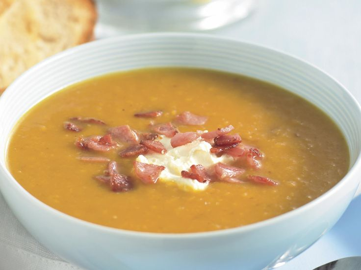 This creamy pumpkin and leek soup is perfect for a cool evening and is beautiful served with a dollop of sour cream, crispy bacon and crusty bread.