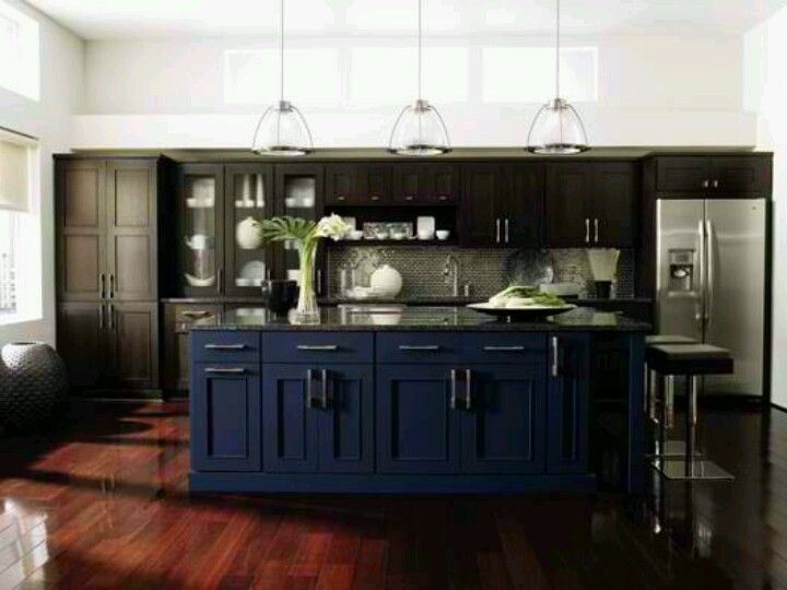 Blue Kitchen Cabinets Trimmed W Dark Grey, Dark Wood Floors, Grey Granite  Counter Tops