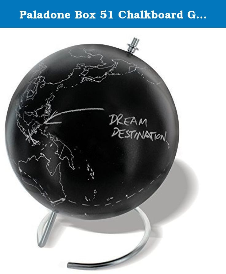 Paladone Box 51 Chalkboard Globe by Paladone Product - Toy. Black chalkboard finish allows you to make your mark on the world!;7.8diameter globe on a sturdy metal base;Two pieces of white chalk included;Ideal for students, travelers, or those with a sense of adventure;Some simple self-assembly required.