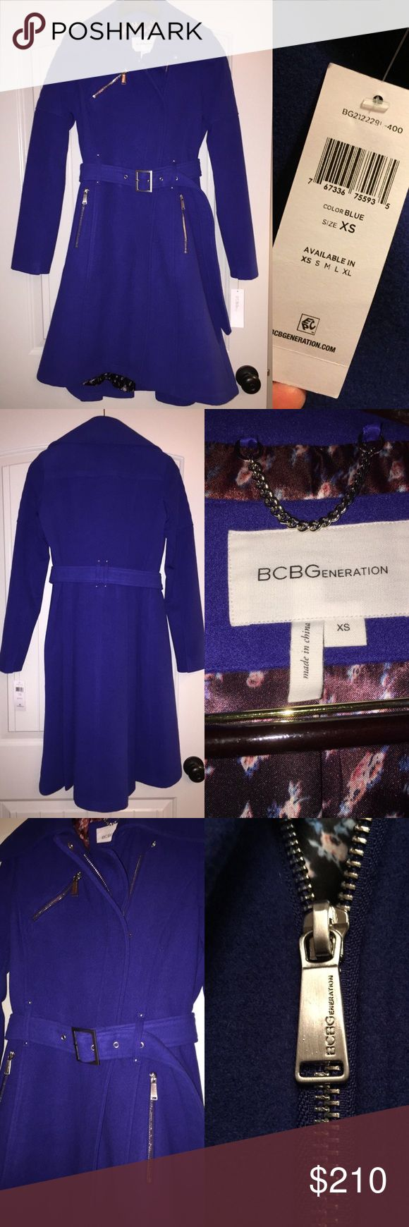 """BCBGeneration blue flared wool coat Brand new with tags BCBGeneration wool coat. Lovely cobalt blue color, silver hardware and zipper closure, belted. Flared slightly at waist (two pleats in the back) and a slight """"high low"""" hemline. Gorgeous silk flowered lining inside. Warm, unique, and stylish! Purchased originally for $450 but never got around to wearing it. Make an offer on this gorgeous coat! BCBGeneration Jackets & Coats Pea Coats"""