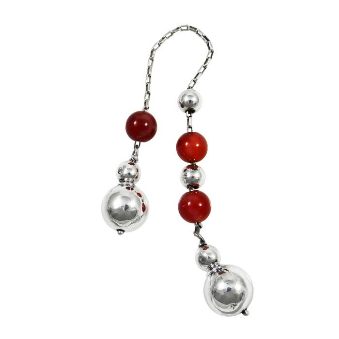 Begleri, decorated with carnelian stones and spherical edges. Silver 999°. Dimensions: 20 cm