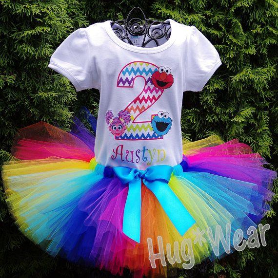 Rainbow Chevron Sesame Street Birthday Shirt Tutu by HugWear
