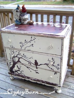 furniture repurposing ideas | The Chippy Chirpy Reverse Paint Dresser - JUNKMARKET Style