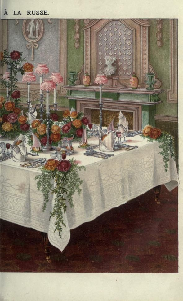 Mrs. Beeton's Book of Household Management (London, 1907). How beautiful is this vintage table setting by Mrs Beeton? Love everything about the design. JH