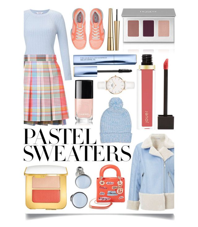 """""""So Sweet: Pastel Sweaters"""" by ittie-kittie ❤ liked on Polyvore featuring Miss Selfridge, Thom Browne, Christian Dior, Boohoo, adidas, Tom Ford, Victoria Beckham, Skagen, Estée Lauder and Jouer"""