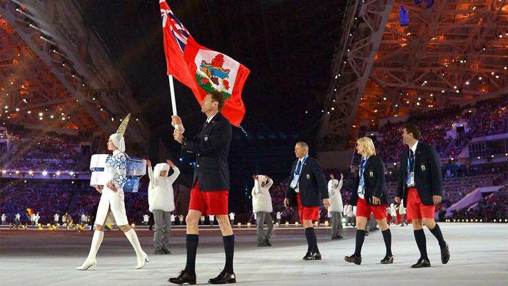 Flagbearer and cross-country skier Tucker Murphy appropriately represents Bermuda wearing his Bermuda shorts.