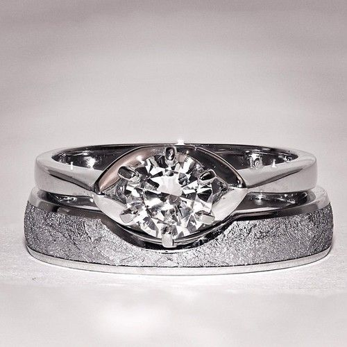 platinum and diamond engagement ring with matching meteorite wedding band by chris ploof - Meteorite Wedding Rings