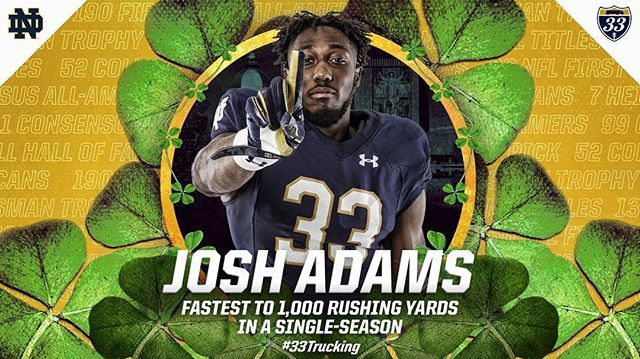 Speed on the field and in the Notre Dame record books! #33Trucking #GoIrish ☘ #NCSTvsND
