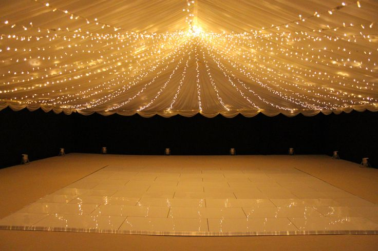 Fairy Lights Unders Sheer Fabric Across Whole Ceiling
