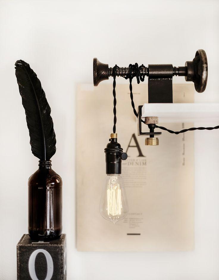 Industrial lamp #DIY #lamp #interior #black #industrial