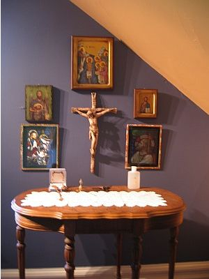 243 best images about catholic home altars on pinterest for Altar wall decoration