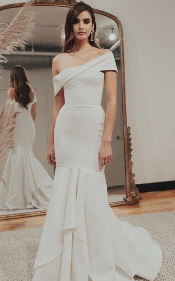 Modern Off The Shoulder Fishtail Wedding Dress Wedding Dresses Wedding Dress Fishtail Chic Wedding Dresses