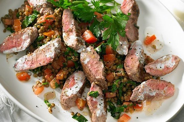 For a light and lovely lunch try this barbecued lamb with lentil salad.