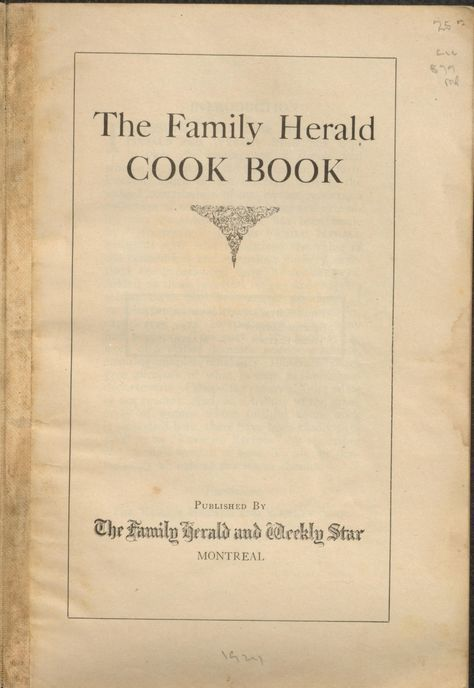 The Family herald cook book