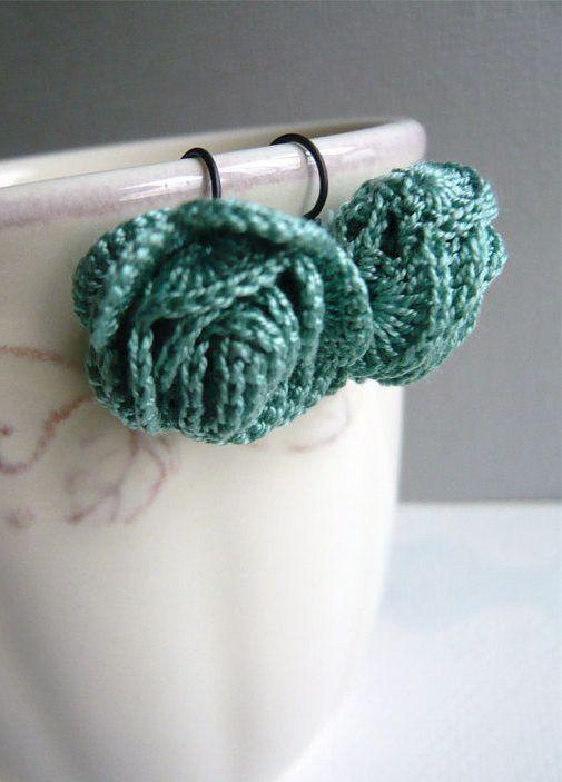 Jade Roses Crocheted Earrings Flower Lace