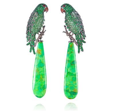 "Lydia Courteille. ""Amazonia collection"". Tsavorite, turquoise, onyx & diamond parrot earrings...♡"