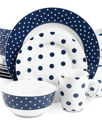 "Isaac Mizrahi Dots Luxe Navy. 16-pc Service for 4, 10½"" Dinners, 8"" Salads, 5½"" Cereal Bowls & 11 oz Mugs. Ceramic, dishwasher, microwave & oven safe. $64.99 on sale at 1.macys.com, 10/4/15"