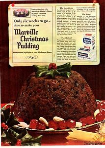 MARVILLE CHRISTMAS PUDDING RECIPE Vintage Advertising 1964 original