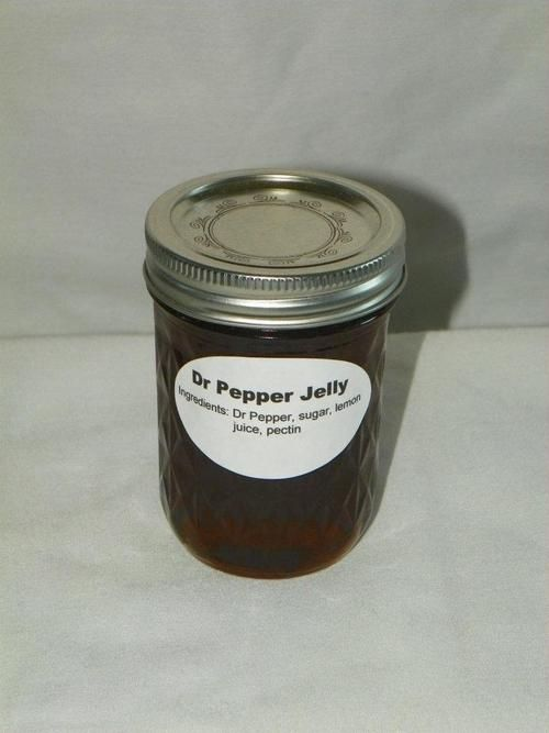 Dr. Pepper Jelly Ingredients: 3-1/2 cups sugar 2-1/4 cups Dr. Pepper ¼ cup lemon juice few drops red food color (optional) 3 ounces liquid pectin