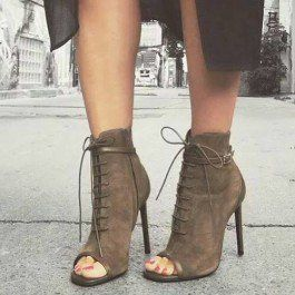 How about this shoe?  Share to get a coupon for all on FSJ Dark Brown Peep Toe Lace-up Vintage Boots